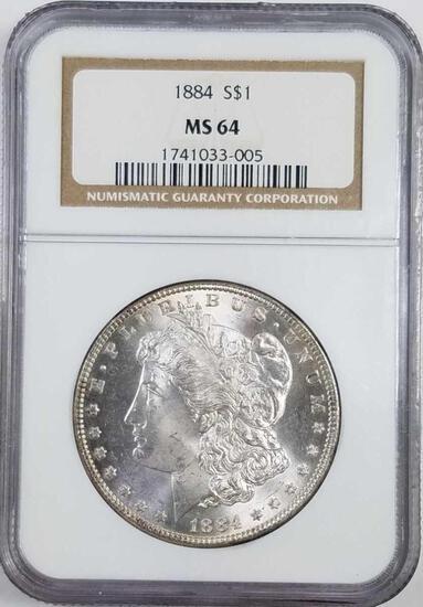 1884 P Morgan Silver Dollar (NGC) MS64.