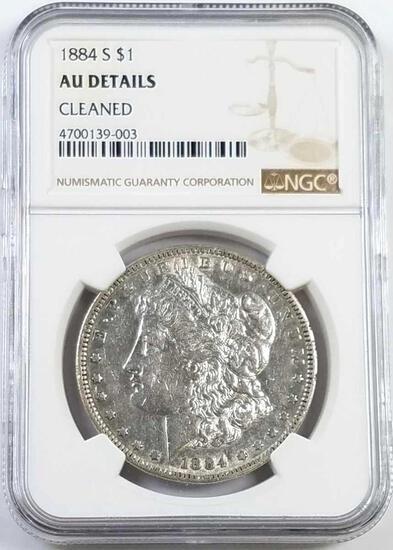 1884 S Morgan Silver Dollar (NGC) AU Details.