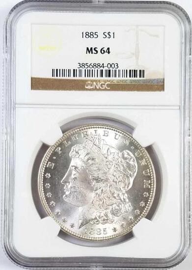 1885 P Morgan Silver Dollar (NGC) MS64.