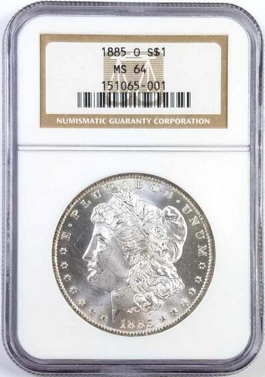 1885 O Morgan Silver Dollar (NGC) MS64.