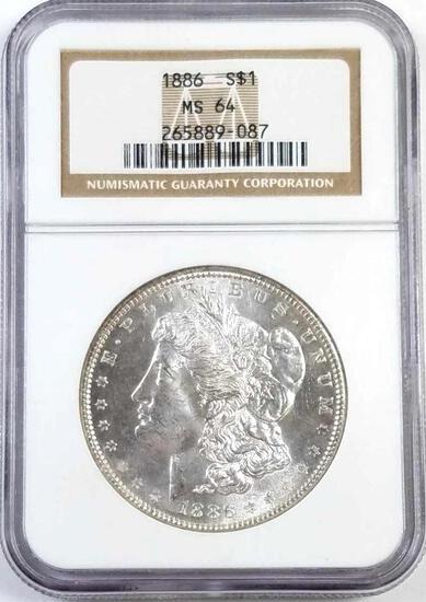 1886 P Morgan Silver Dollar (NGC) MS64.