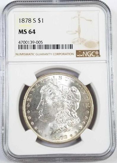 1878 S Morgan Silver Dollar (NGC) MS64.