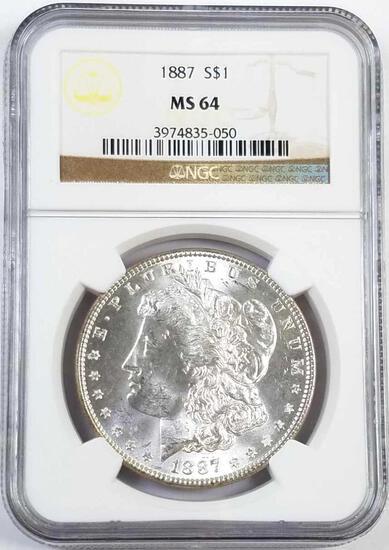 1887 P Morgan Silver Dollar (NGC) MS64.