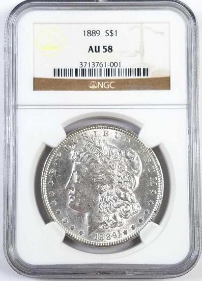 1889 P Morgan Silver Dollar (NGC) AU58.