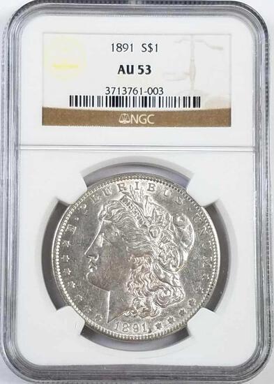 1891 P Morgan Silver Dollar (NGC) AU53.