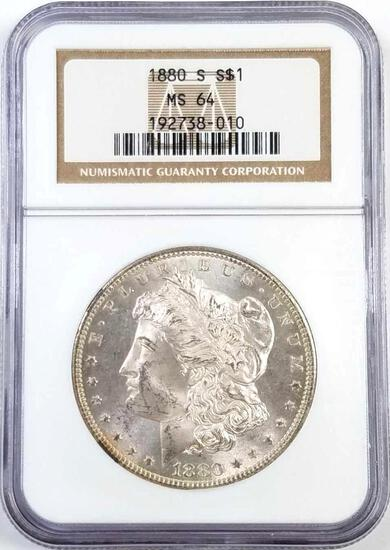 1880 S Morgan Silver Dollar (NGC) MS64.