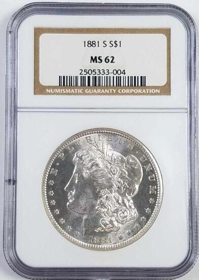 1881 S Morgan Silver Dollar (NGC) MS62.