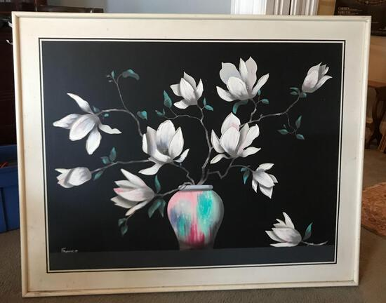 "Large framed floral painting by ""Franco"""