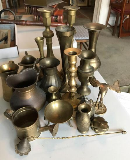 Group of vintage brass candle holders and more