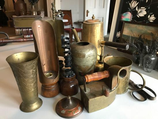 Group of vintage brass and other items
