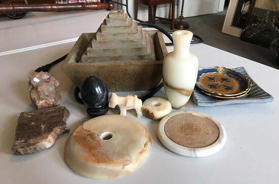 Group of stone/marble items