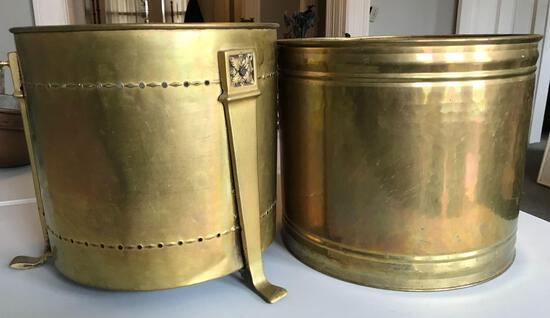 2 vintage brass potted plant holders