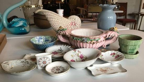 Group of vintage dishes and vases