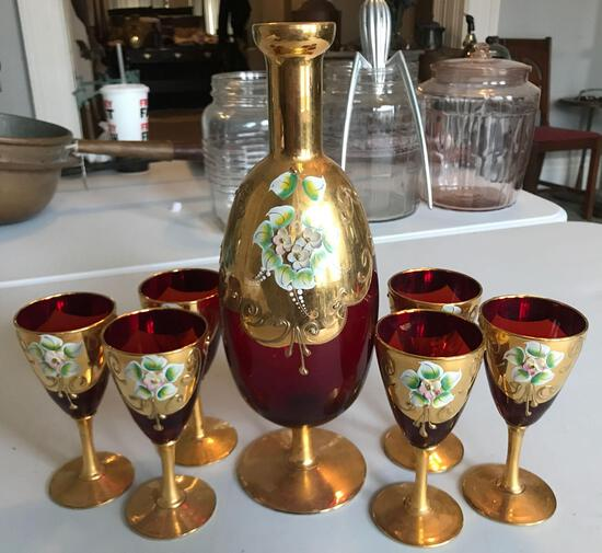 Vintage hand-painted decanter and glasses