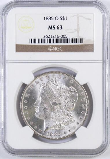 1885 O Morgan Silver Dollar (NGC) MS63.