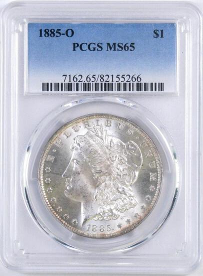 1885 O Morgan Silver Dollars (PCGS) MS65.
