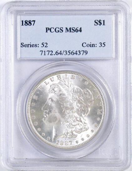 1887 P Morgan Silver Dollar (PCGS) MS64.