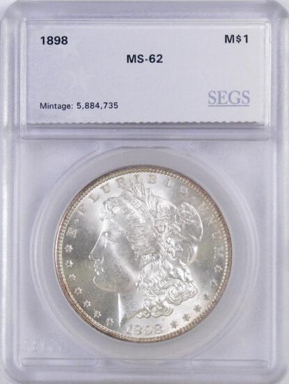1898 P Morgan Silver Dollar (SEGS) MS62.