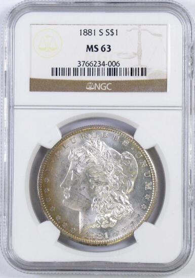 1881 S Morgan Silver Dollar (NGC) MS63.