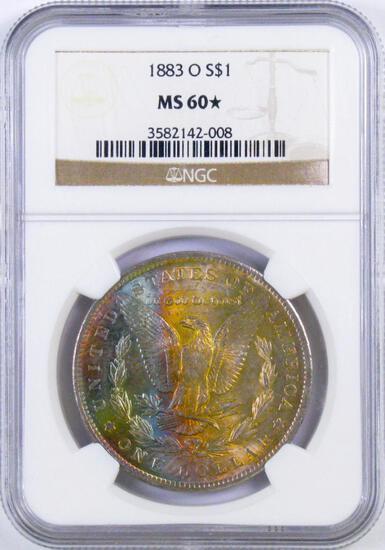 1883 O Morgan Silver Dollar (NGC) MS60*.