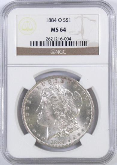 1884 O Morgan Silver Dollar (NGC) MS64.