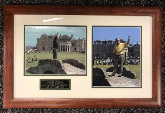 Framed, autographed Arnold Palmer and Jack Nicklaus photos