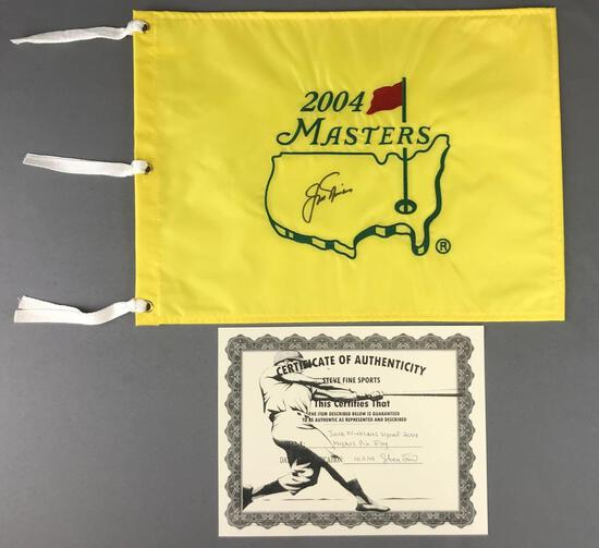 Jack Nicklaus autographed 2004 masters pin flag with a C. O. A.