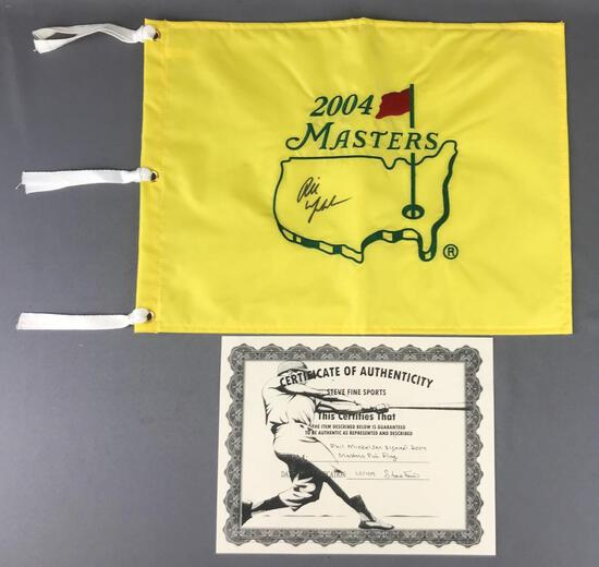 Phil Mickelson autographed 2004 masters pin flag with C. O. A.