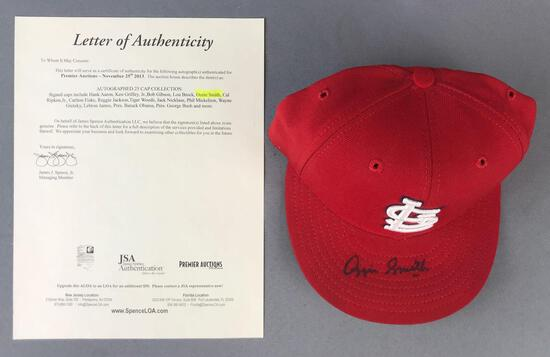 Ozzie Smith autographed St. Louis Cardinals fitted cap with letter of authenticity