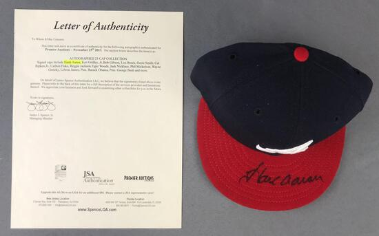 Hank Aaron autographed Atlanta Braves fitted cap with letter of authenticity