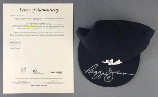 Reggie Jackson autographed New York Yankees fitted cap with letter of authenticity