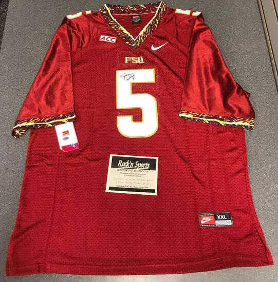 James Winston autographed FSU game jersey with certificate of authenticity