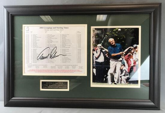 Framed, autographed Arnold Palmer photo and program