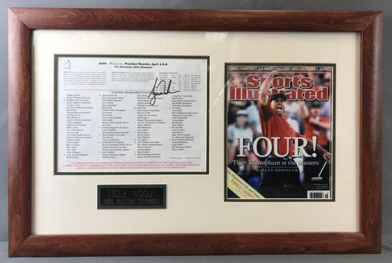 Framed, autographed Tiger Woods 2005 masters program and picture