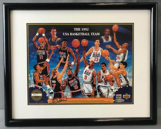 Framed Upper Deck 1992 USA Basketball Team Limited Edition print Autographed by Larry Bird