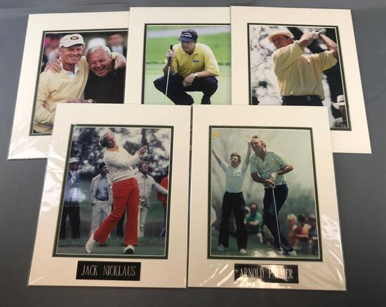 Group of 5 matted photographs-famous golfers