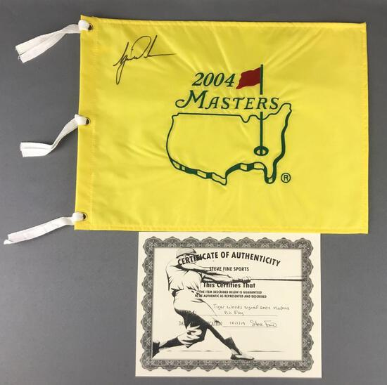 Tiger Woods autographed 2004 Masters pin flag with C.O.A.