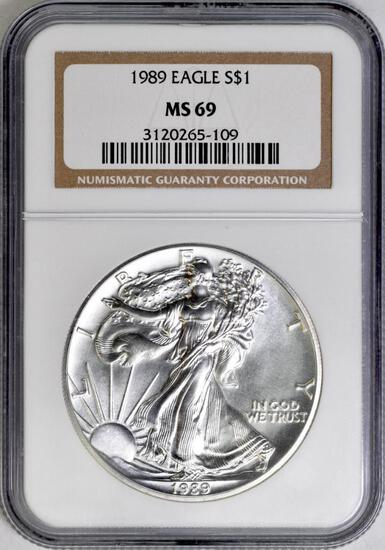 1989 American Silver Eagle 1oz. (NGC) MS69.