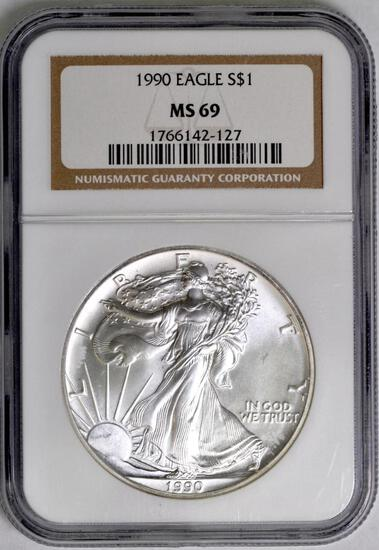 1990 American Silver Eagle 1oz. (NGC) MS69.