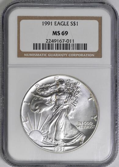 1991 American Silver Eagle 1oz. (NGC) MS69.