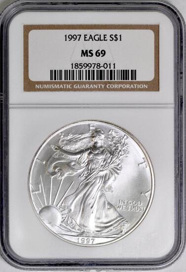 1997 American Silver Eagle 1oz. (NGC) MS69.