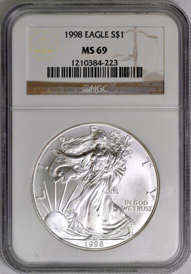 1998 American Silver Eagle 1oz. (NGC) MS69.