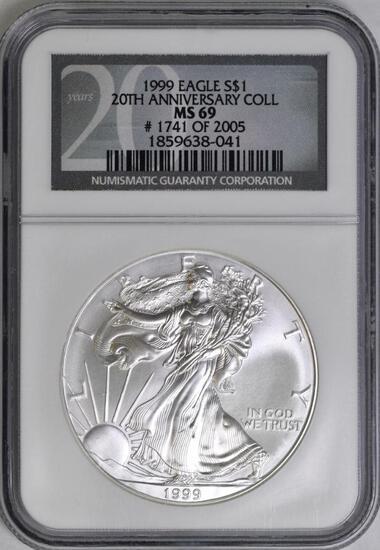 1999 American Silver Eagle 1oz. (NGC) MS69.