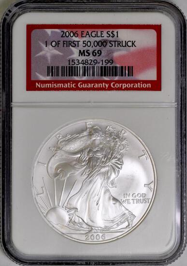 2006 American Silver Eagle 1oz. (NGC) MS69.