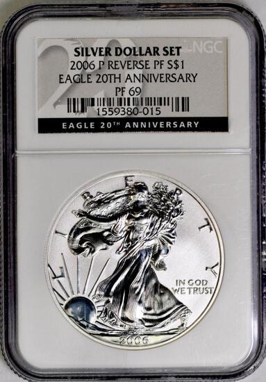 2006 P American Silver Eagle 1oz. Reverse Proof (NGC) PF69.