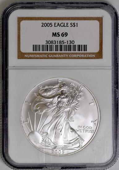 2005 American Silver Eagle 1oz. (NGC) MS69.