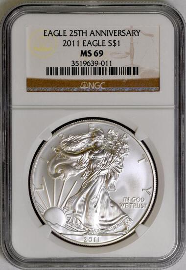 2011 American Silver Eagle 1oz. (NGC) MS69.