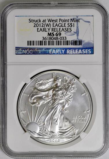 2012 W American Silver Eagle 1oz. (NGC) MS69.