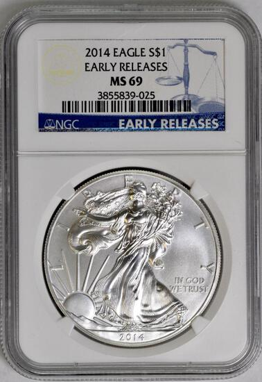 2014 American Silver Eagle 1oz. (NGC) MS69.