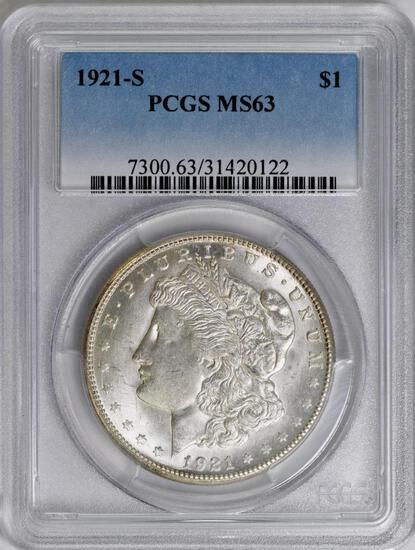 1921 S Morgan Silver Dollar (PCGS) MS63.